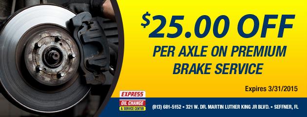 $25.00 Off Brake Service