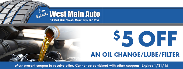 $5 off an oil change/ lube/ filter