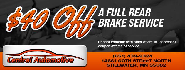$40 Off Full Rear Brake Service