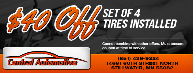 $40 Off Set of 4 Tires Installed