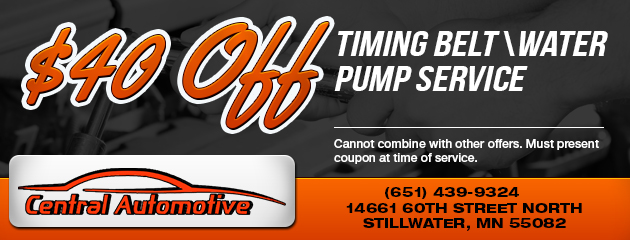 $40 Off Timing Belt/Water Pump Service