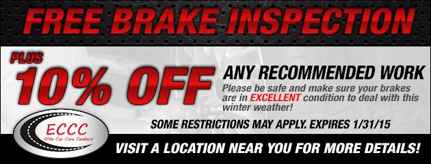 Free Brake Inspection plus 10% Off