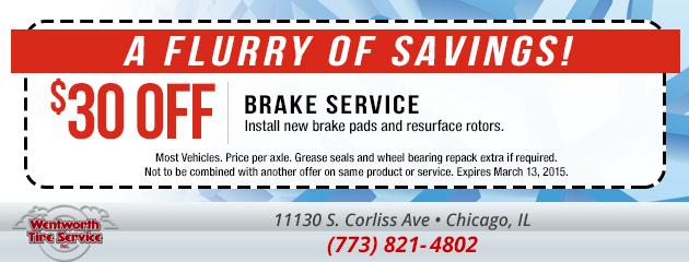 $30 Off Brake Service