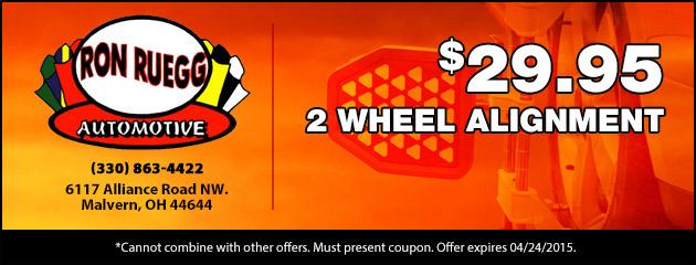 $29.95 2 Wheel Alignment
