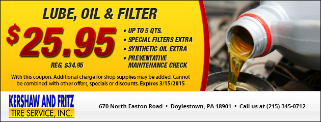 $25.95 Lube, Oil & Filter Special