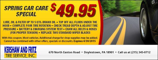 Spring Car Care Special - $49.95