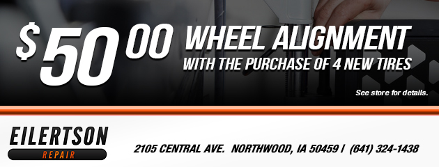 $50 Wheel Alignment with Purchase of 4 Tires