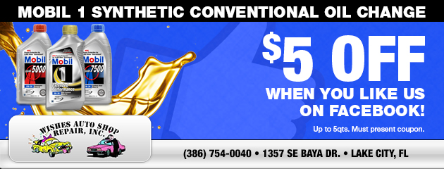 $5 Off Mobil 1 Synthetic Conventional Oil Change