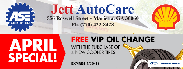 April Special! Free VIP Oil Change with purchase of 4 Cooper Tires