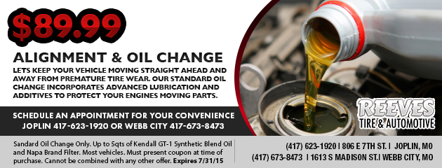 $89.99 Alignment and Oil Change Special