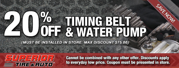 20% Off Timing Belt and Water Pump