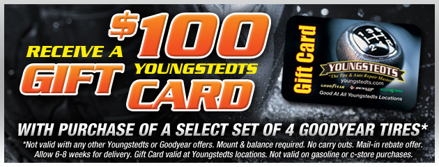 Youngstedts $100 Gift Card with 4 Tire Purchase