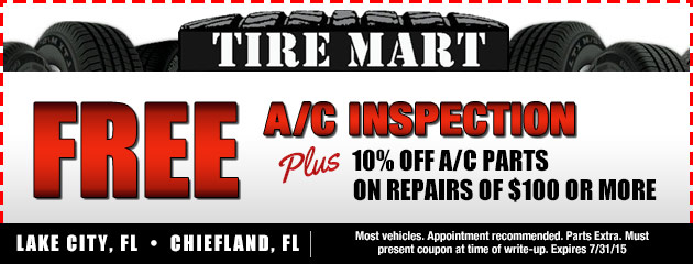 Free A/C Inspection, Plus 10% off A/C parts on repairs of $100 or more Coupon