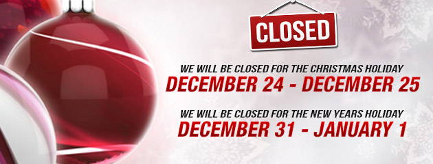 Holiday Hours 24-25 and 31-1 closed